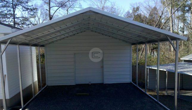 Carport Enclosed With Windows : Utility carport boxed eave plan metal