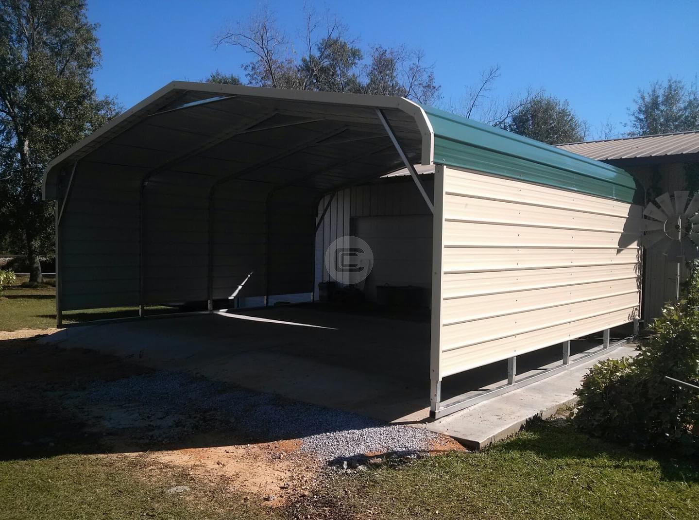 20x21x7 Regular Style Carport Two Car Metal Carport