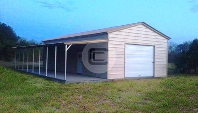 Enclosed Workshop with Lean-To